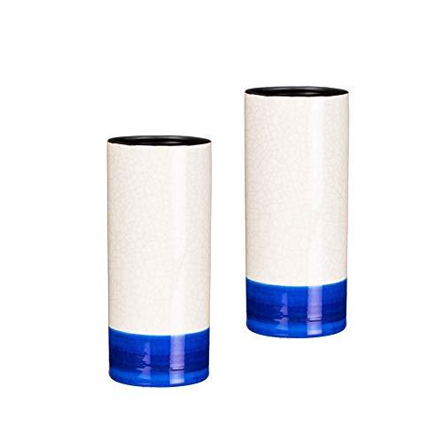 Sullivans Cylindrical Vases with Electric Blue Crackle Glaze - Set of 2