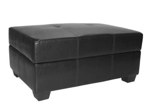 36 By 24 By 18 Inch Storage Ottoman Bench Leather Look Black Outdoor Benches Patio And