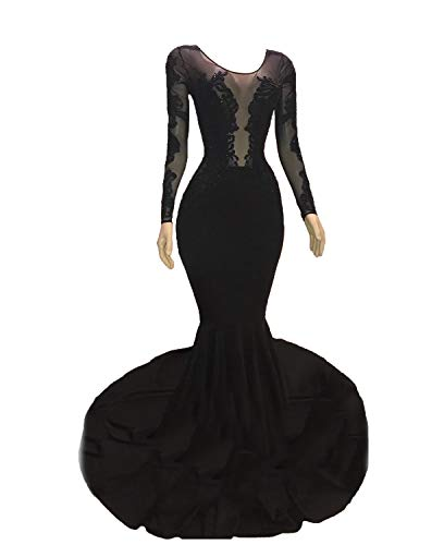 Graceprom Women's Black Mermaid Evening Dresses Long Sleeves Backless Prom Party Formal Gowns - Court Sleeve Train Long