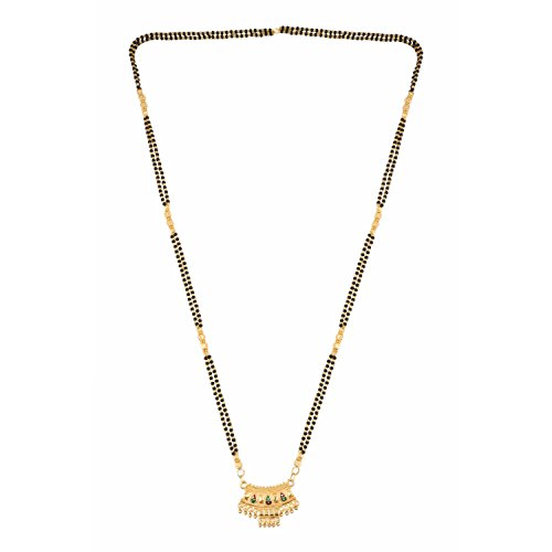 ywood Antique Traditional Gold Plated Long Mangalsutra Pendant Necklace set jewelry for Women ()