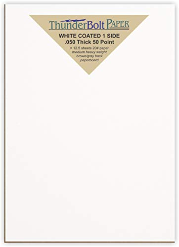 50 Sheets Chipboard 50pt White 1 Side - 6 X 9 inches Size - Medium Thick Weight PaperBoard .050 (Point) Caliper White Coated on One Side Cardboard by Thunderbolt Paper
