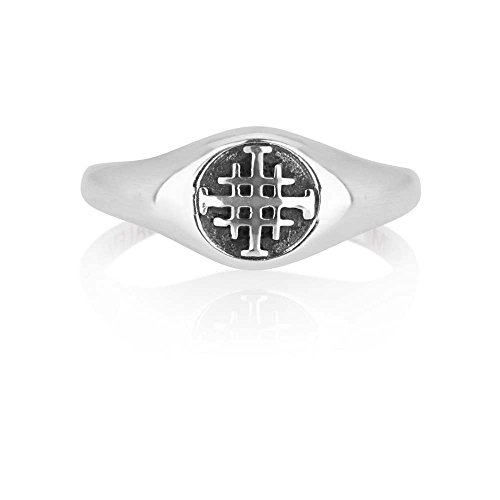Marina Jewelry 925 Sterling Silver and Enamel Ring, Womens or Mens, Embossed Jerusalem Cross, Size 7.5 by Marina Jewelry (Image #4)