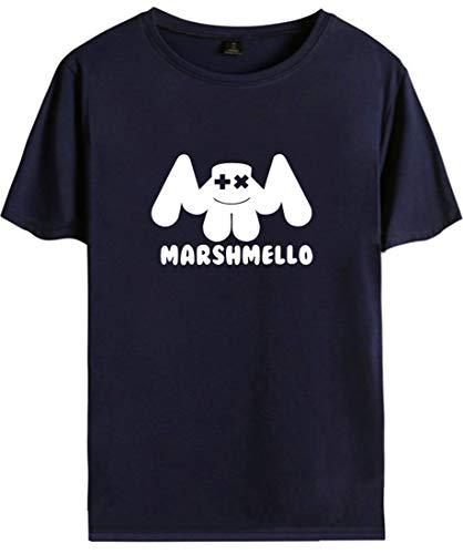 shirt Uni Manches Top Marshmello T Bleu Homme Fans Edm Courtes Logo Dj Emilyle Smile D'été À vgTEWqn