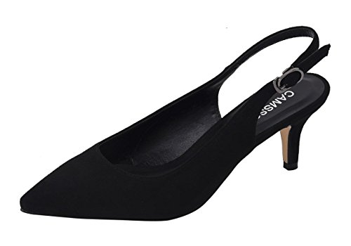CAMSSOO Women's Slingback Slip ONS Closed Pointy Toe Mules Mid Heeled Ankle Strappy Sandals Buckled Shoes Black Velveteen Size US7.5 EU39