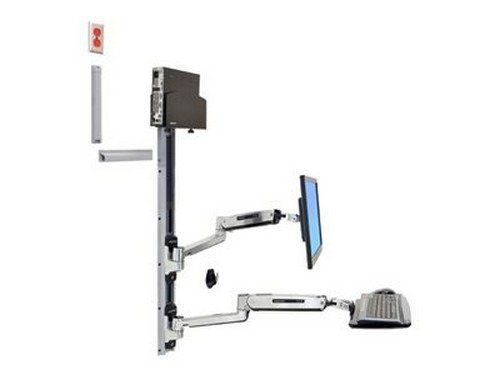 Ergotron, Lx Sit-Stand Wall Mount System Mounting Kit ( Wall Arm, Cpu Holder, Mouse Holder, 2 Track Covers, Keyboard Arm, 2 Cable Channels, Wrist Rest ) For Lcd Display / Keyboard / Mouse / Cpu Polished Aluminum Screen Size: 42