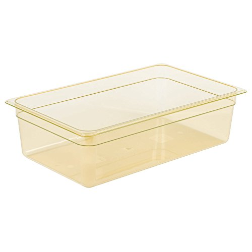 High Temp Amber Food Pan - Cambro 16HP150 High Heat Full Size Food Pan in Amber (Case of 6) 6