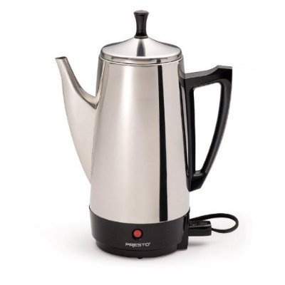 Electric Percolator Coffee Pot - Presto 12-Cup Stainless Steel Coffeemaker