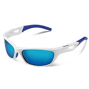 Duduma Polarized Sport Mens Sunglasses for Baseball Fishing Golf Running Cycling with Fashion Women Sunglasses and Men Sunglasses Tr80821 Flexible Superlight Frame (White frame, Blue mirror lens)