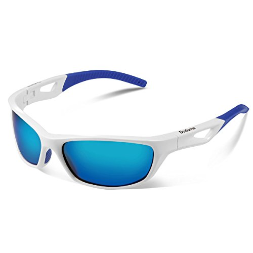 Duduma Polarized Sport Mens Sunglasses for Baseball Fishing Golf Running Cycling with Fashion Women Sunglasses and Men Sunglasses Tr80821 Flexible Superlight Frame (White frame, Blue mirror - Cycling Sunglasses White