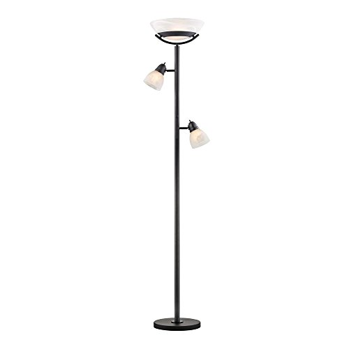 Alabaster Contemporary Table Lamp - Torchiere Lamp with Alabaster Directional Lights Dark Bronze/Black