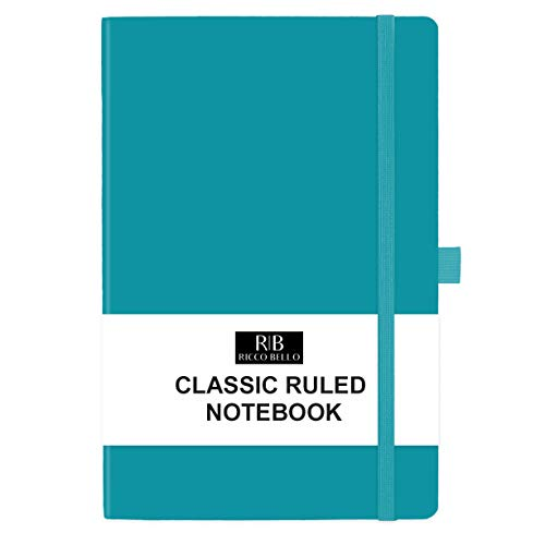 RICCO BELLO Classic College Ruled Hardcover Journal Notebook, Elastic Band Closure, Pen Holder, Vegan Leather, 5.7 x 8.4 inches (Teal) (Hardcover College Ruled Journal)