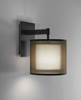 Robert Abbey Z2182 Sconces with Bronze Fabric Inner and Ascot White Outer Shades, Deep Patina Bronze Finish
