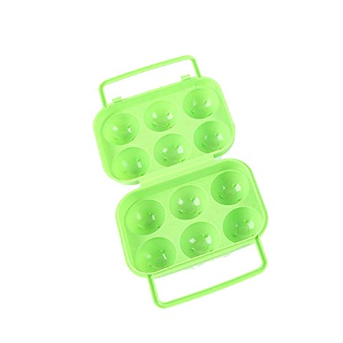 Yu2d  Portable 6 Eggs Plastic Container Holder Folding Egg Storage Box Handle Case(Green)