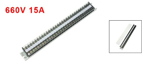 660V 15A 2 Rows 30 Positions Clear Covered Screw Terminal Barrier Block