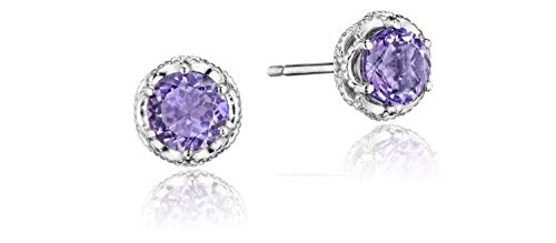 Tacori SE24001 Sterling Silver Lilac Blossoms Petite Crescent Crown Amethyst Stud Earrings