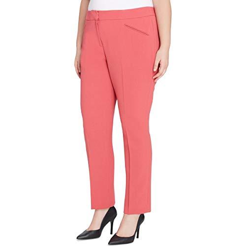 Tahari ASL Womens Plus Crepe Textured Dress Pants Pink 16W
