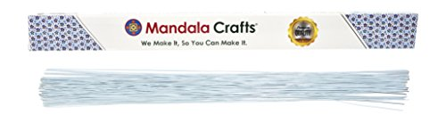 Mandala Crafts White Brown Red Black Green 18 20 22 24 26 Gauge Florist Stem Paddle Floral Wire, 16, 100PCs (18 Gauge 1mm, White)