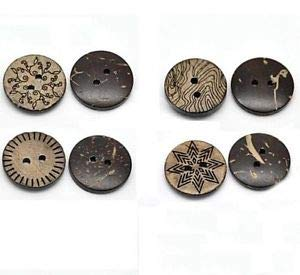 (JumpingLight 10 Etched 2-Hole Coconut Shell Buttons 11/16