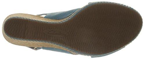Clarks Kvinnor Helio Float Kil Sandal Blå Mocka