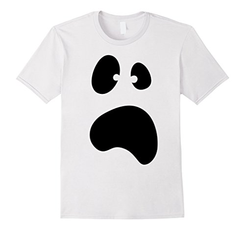 Mens Funny Halloween Ghost Face Costume Tshirt - For Halloween Large White