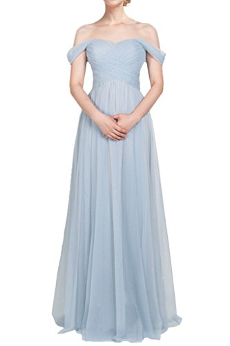MILANO BRIDE Charming Prom Dress Bridesmaid Dress Off-the-Shoulder A-line Tulle-18W-Light (Charmeuse Maternity Bridesmaid Dress)