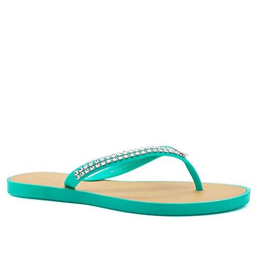 London Footwear - talón abierto mujer turquesa