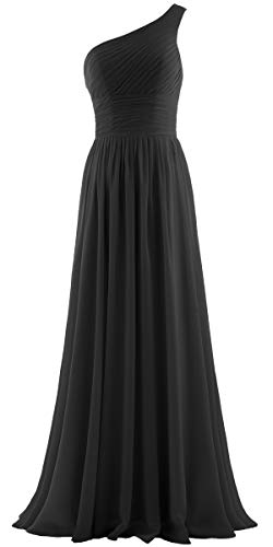 ANTS Women's Pleat Chiffon One Shoulder Bridesmaid Dresses Long Evening Gown Size 18W US Black ()