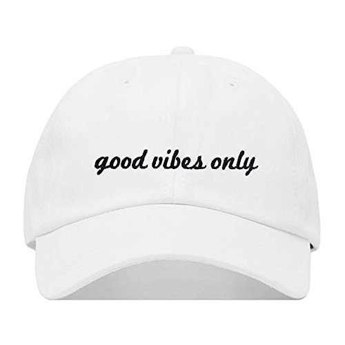 Good Vibes Only Baseball Hat Embroidered Dad Cap Unstructured Soft Cotton Adjustable Strap Back Multiple Colors