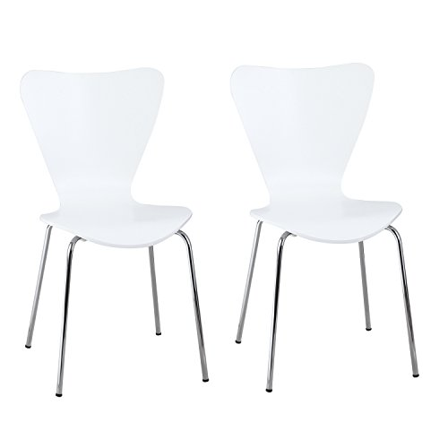 Adeco Simplicity Series 7 Conference Room Chair, Dining Side Chair in White Set of 2