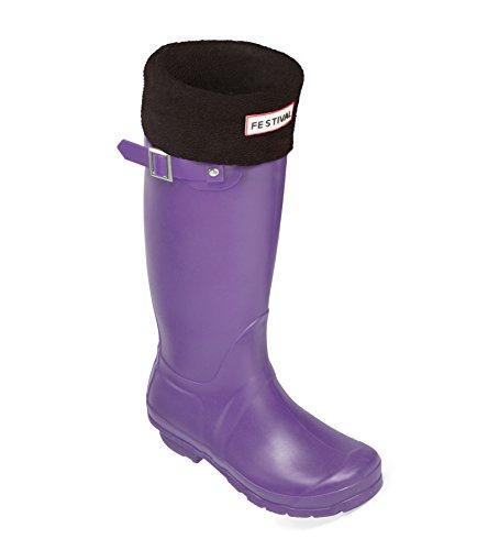 Festival Ladies Original Tall Warm Winter Rain Wellies Wellington Boots Sizes 3-9 UK Purple / Black