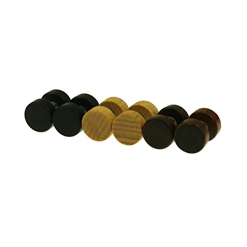 3Pairs Men Wooden Fake Gauges Ear Plugs Cheater Plugs Earrings Hypoallergenic Stainless Steel Screw Stud Earrings Piercing (10MM)