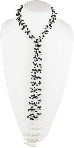 (HinsonGayle 'Lupita' Handwoven 2-Strand Black Onyx & Freshwater Cultured Pearl Lariat Necklace-42 in)