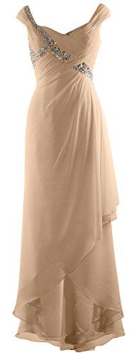 Chiffon Of V Champagne Macloth Maxi Low High Gown Elegant Neck Mother Dress Bride Formal 5vwBwYSqn1