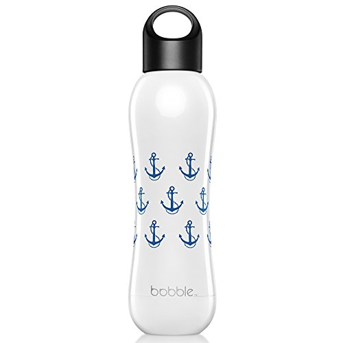 Bobble Insulate, vacuum insulate water bottle, stainless steel, double wall insulation, food-grade 304 stainless steel, cold for 24 hours, hot for 12 hours, 15 fl oz./ 442 mL, White with Navy Anchor