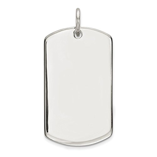Sterling Silver Polished Engravable Fancy Rectangle Charm Pendant 33mm
