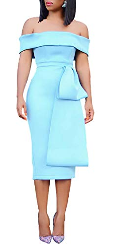 Off Shoulder Midi Pencil Dress Extreme Bow Front - Women Knee Length Wedding Cocktail Dress Blue