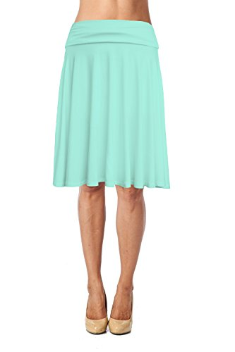 Womens Basic Soft Stretch Mid Midi Knee Length Flare Flowy Skirt Made in USA-Mint,3X