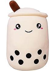 HiCollie Bubbla te plyschkudde söt boba plyschleksak tecknad boba mjölk tekopp plysch, bryggd boba plyschleksaker för barn vuxna och Boba-älskare 24 cm (vit)