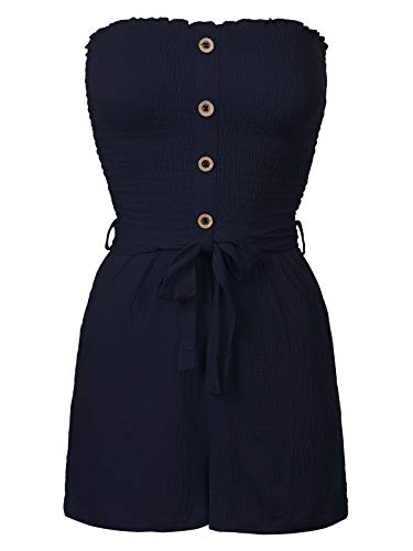 Design by Olivia Women's Front Self Tie Short Smocked Tube Romper Navy S - Olivia Tube Dress