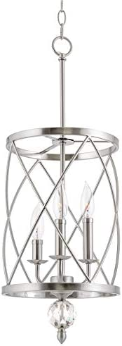 Kira Home Eleanor 13 3-Light Modern Foyer Light Pendant Chandelier, Cylinder Metal Shade, Adjustable Height, Brushed Nickel Finish