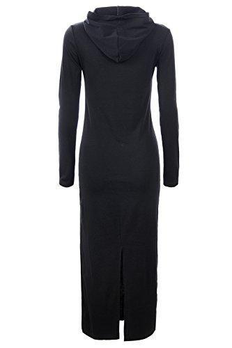 glostory de las mujeres Casual Manga larga Sudadera con capucha vestidos con bolsillo canguro de 1360 Negro