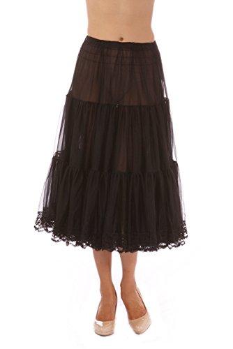 - Malco Modes Tea-Length Chiffon Crinoline Petticoat Underskirt Full Slip w/ Lace,Black,Large