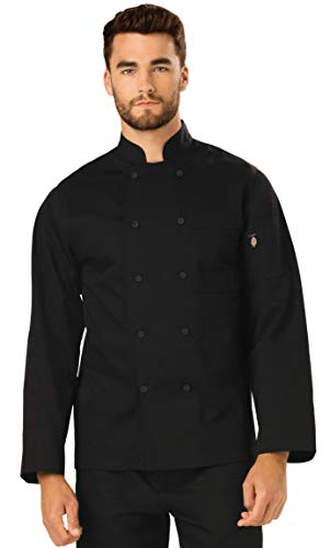 (Dickies Chef Classic Cloth Covered Button Coat, Black, Small)