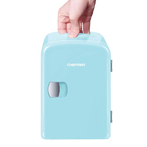 Chefman Mini Portable Compact Personal Fridge, Cools & Heats, 4 Liter Capacity, Chills 6 12oz cans, 100% Freon-Free & Eco Friendly, Includes Plugs for Home Outlet & 12V Car Charger - Blue