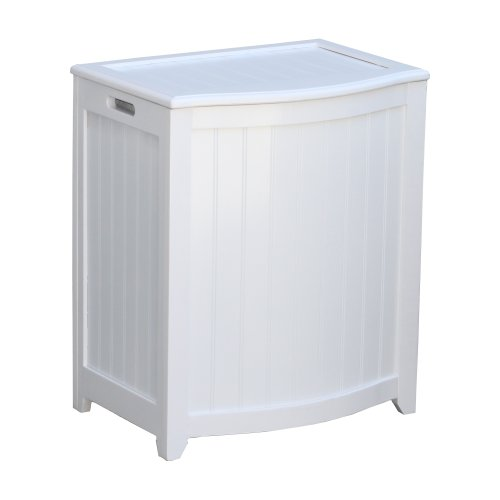Oceanstar BHP0106W Bowed Front Laundry Wood Hamper, White Finished (Hamper Laundry White Finished)
