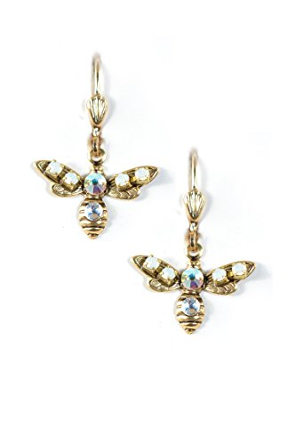 Clara Beau Dazzling WhiteOpal AB Little Bee Swarovski crystal GoldTone Dangle Earrings (Homemade Insect Costumes)