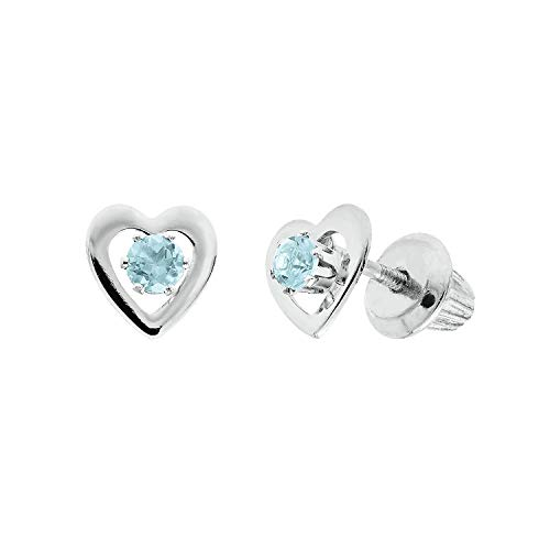 Helzberg Diamonds 14K White Gold Children's March Birthstone Heart ()