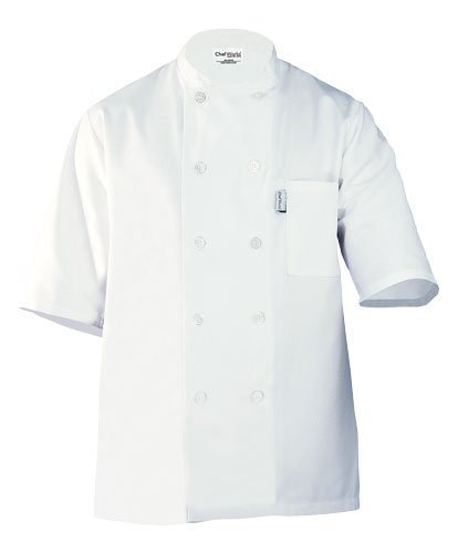 Chef Works PCSS Volnay Short Sleeve Basic Chef Coat, White, Small