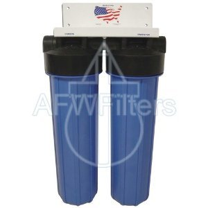"""20"""" 2 Stage Big Blue KDF-85 Whole House Complete Water Filter System with Sediment and GAC/KDF 85 Filters"""