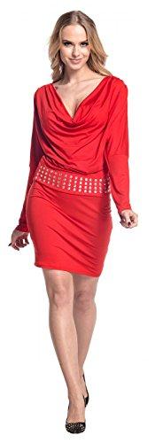 borchie drappeggio Rosso Abito scollo Empire 916 con aderente Vestito Donna Glamour 8wf1x